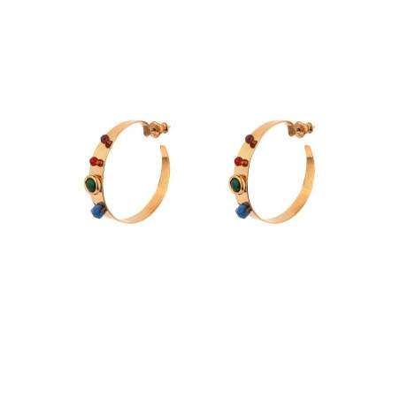 Boucles d'oreilles créoles percées mode lapis lazuli | multicolore