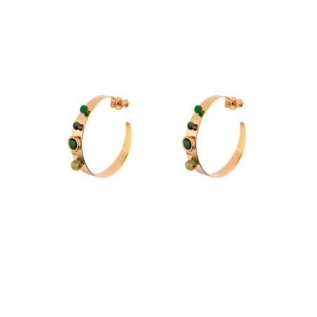 Feminine agate and malachite butterfly fastening hoop earrings | green