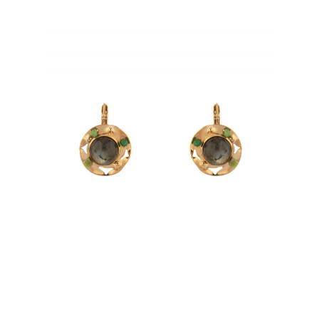 Boucles d'oreilles dormeuses glamour jade et labradorite | vert