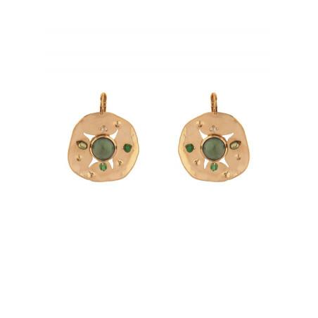 Boucles d'oreilles dormeuses féminines agate et jade | vert