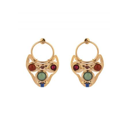Boucles d'oreilles percées mode lapis lazuli et jaspe | multicolore
