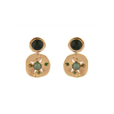 Boucles d'oreilles clips baroques agate jade et jaspe | vert