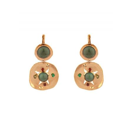 Boucles d'oreilles dormeuses mode péridot grenat et jade | multicolore