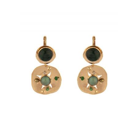 Baroque agate jade and jasper sleeper earrings l green