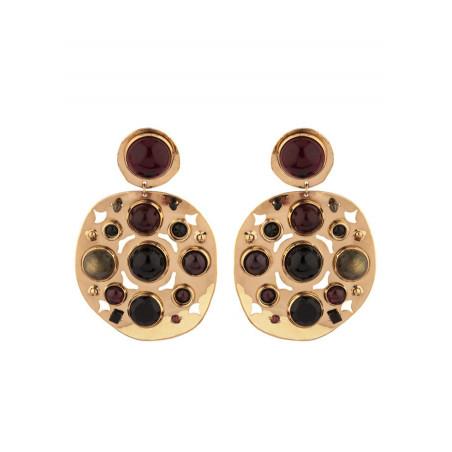 Poetic garnet and onyx clip-on earrings l black