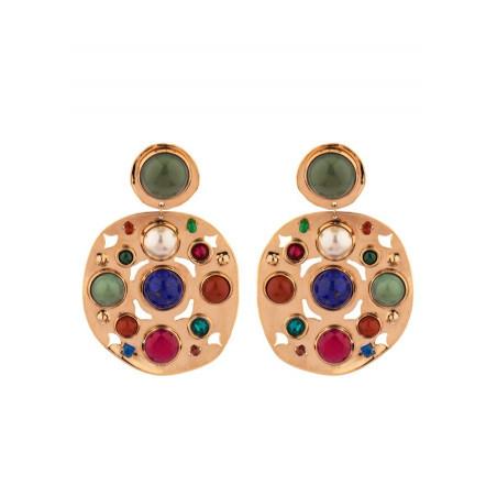 Boucles d'oreilles clips chics jade jaspe et lapis lazuli | multicolore