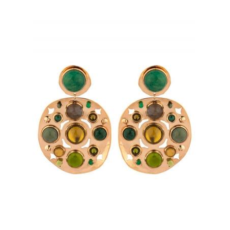 Boucles d'oreilles clips raffinées agate jaspe et jade | vert