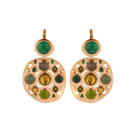 Refined agate jade and jasper sleeper earrings l green