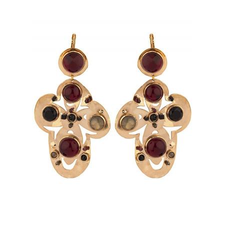 Baroque garnet and onyx sleeper earrings l black