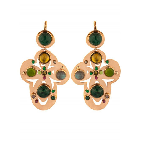 Romantic agate jade and jasper sleeper earrings l green