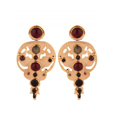 Glamorous garnet and onyx clip-on earrings l black