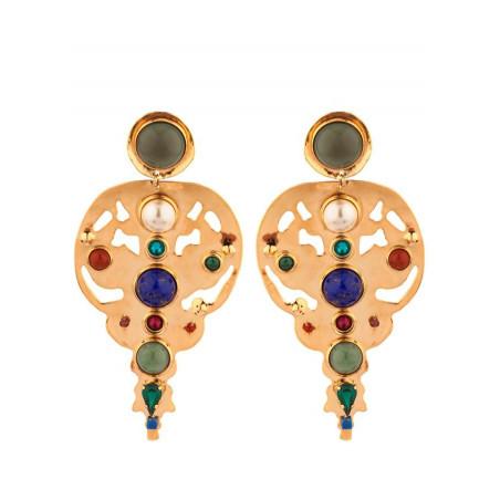 Arty garnet jasper and lapis lazuli clip-on earrings l multicoloured