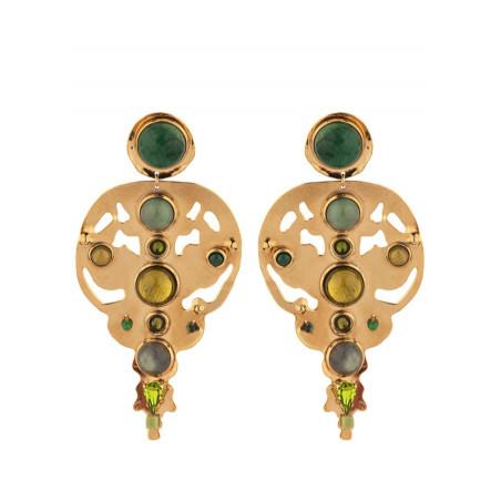 Radiant agate jade and jasper clip-on earrings l green