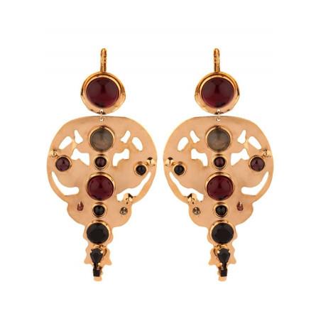 Glamorous garnet and onyx sleeper earrings l black