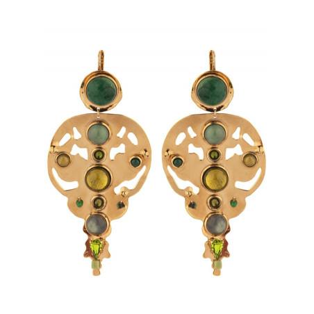Radiant agate jade and jasper sleeper earrings l green