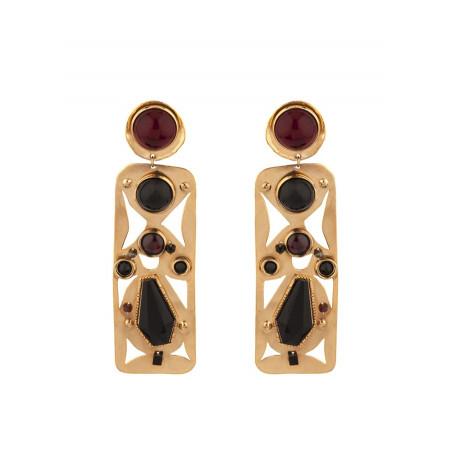 Boucles d'oreilles clips design grenat et onyx | noir