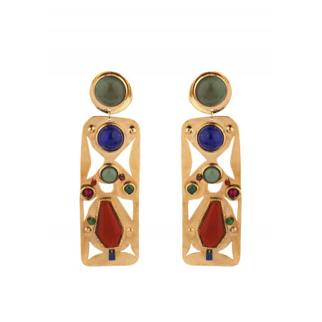 Arty jade and lapis lazuli clip-on earrings l multicoloured