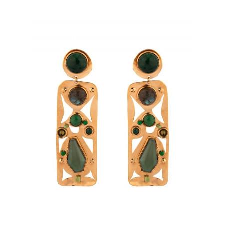 On-trend agate jade and jasper clip-on earrings l green