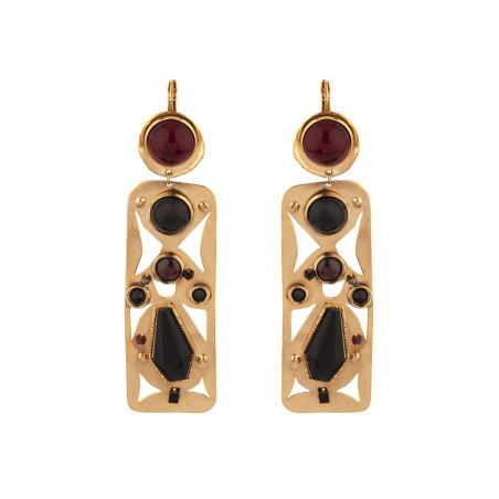 Design garnet and onyx sleeper earrings l black