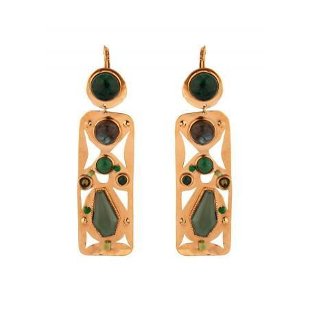 On-trend agate jade and jasper sleeper earrings l green