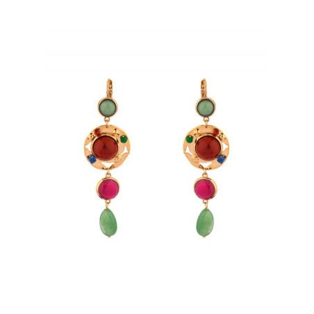 Boucles d'oreilles dormeuses éclatantes aventurine et jade   multicolore
