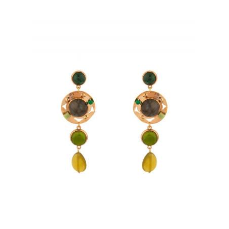 Poetic jade and jasper butterfly fastening earrings l green
