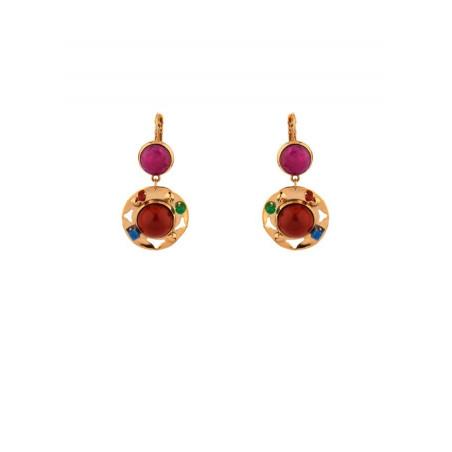 Fantasy jade and carnelian sleeper earrings l multicoloured