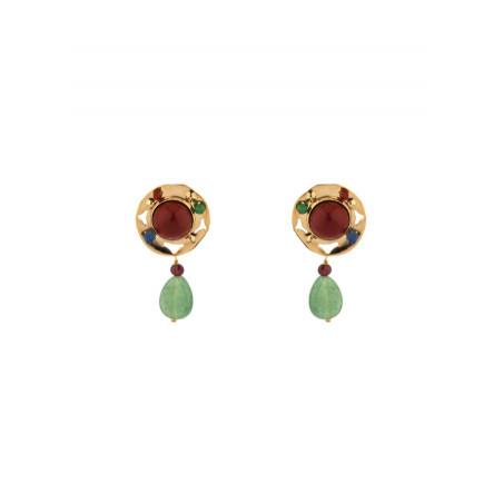 Modern jade and lapis lazuli clip-on earrings l multicoloured