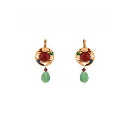 Modern jade and lapis lazuli sleeper earrings l multicoloured