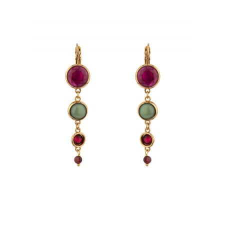 Pop garnet crystal sleeper earrings l multicoloured
