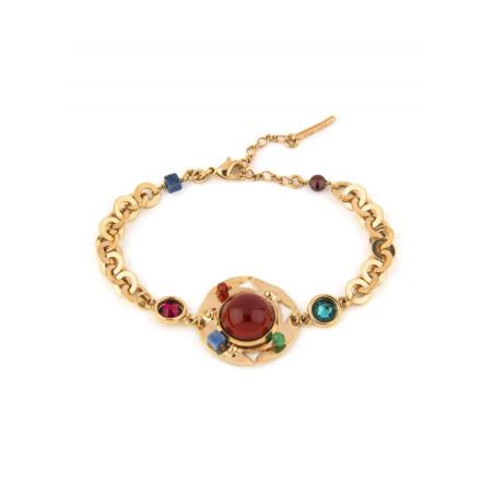 Sparkling garnet, jade and lapis lazuli flexible bracelet l multicoloured