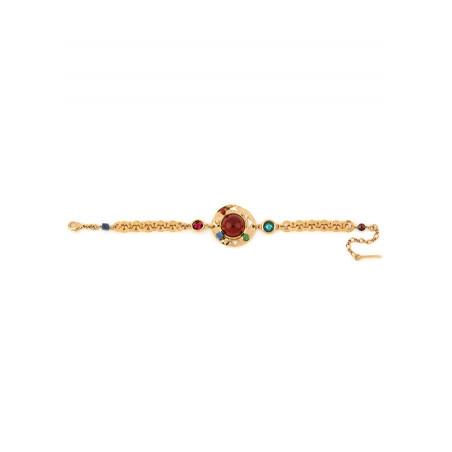 Sparkling garnet, jade and lapis lazuli flexible bracelet l multicoloured74898