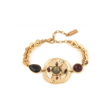 Bracelet souple sophistiqué onyx grenat et cristal | noir