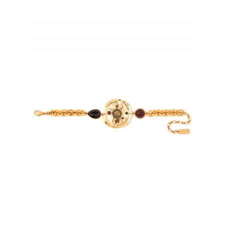 Bracelet souple sophistiqué onyx grenat et cristal | noir74927