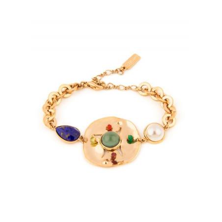 Exuberant garnet, labradorite and mother-of-pearl cabochon flexible bracelet l multicoloured