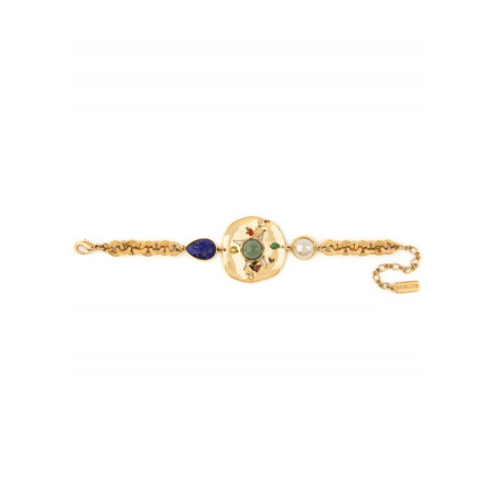 Exuberant garnet, labradorite and mother-of-pearl cabochon flexible bracelet l multicoloured74931