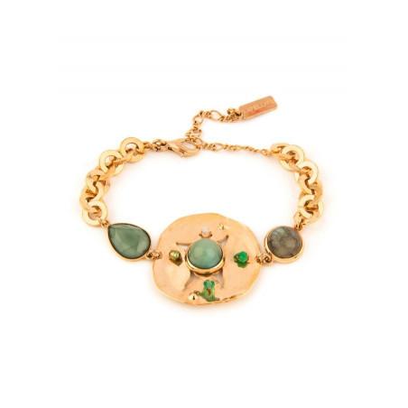 Bracelet souple poétique jaspe et labradorite | vert