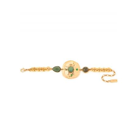 Bracelet souple poétique jaspe et labradorite | vert74935