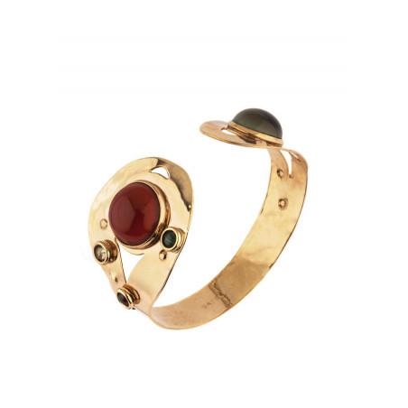 Bracelet jonc glamour grenat jaspe et malachite | multicolore