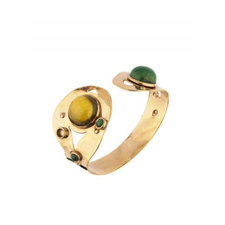Bracelet jonc contemporain jaspe labradorite et malachite   vert