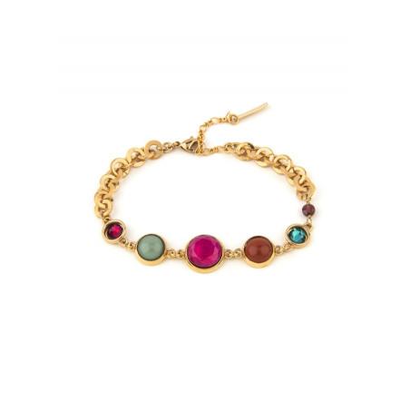 Pop garnet, jasper crystal flexible bracelet l multicoloured