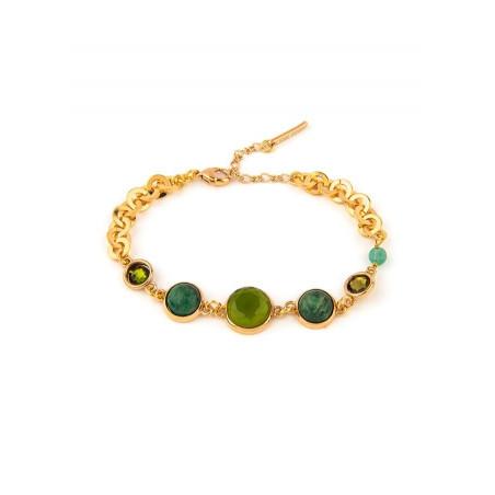 Fashionable aventurine, jasper crystal flexible bracelet l green