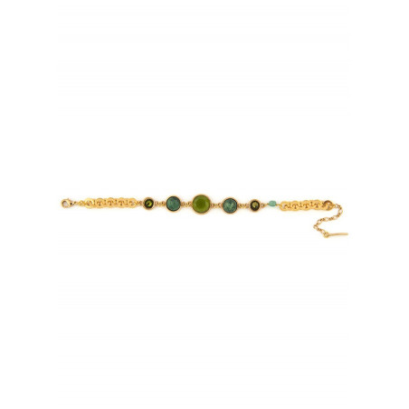 Fashionable aventurine, jasper crystal flexible bracelet l green74965