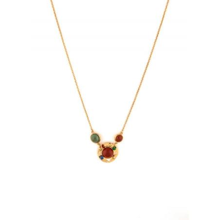 Collier pendentif glamour cornaline jade et jaspe | multicolore