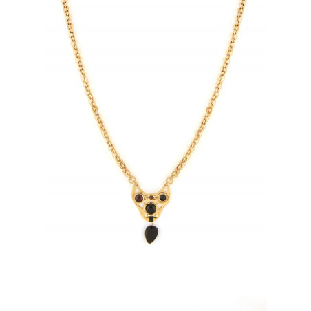 Graphic onyx and garnet pendant necklace | black