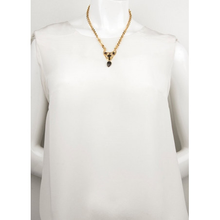 Graphic onyx and garnet pendant necklace | black75000