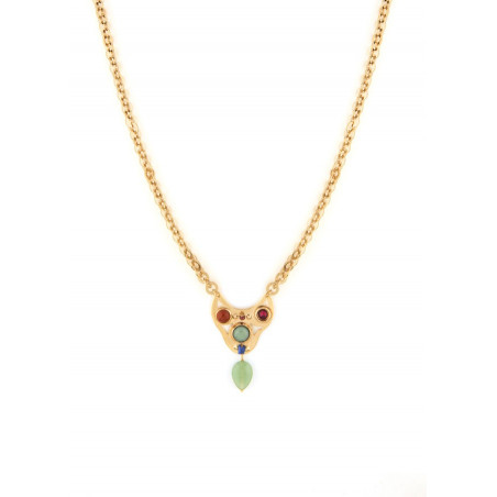 Fashionable aventurine and jasper pendant necklace | green