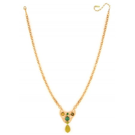 Poetic agate jade and jasper pendant necklace | green75009