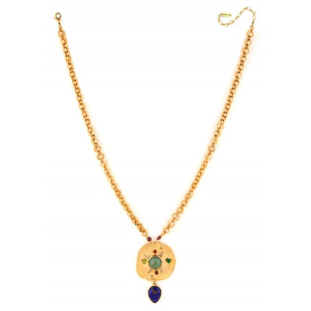 On trend garnet, jade and peridot mid-length necklace l multicoloured75019