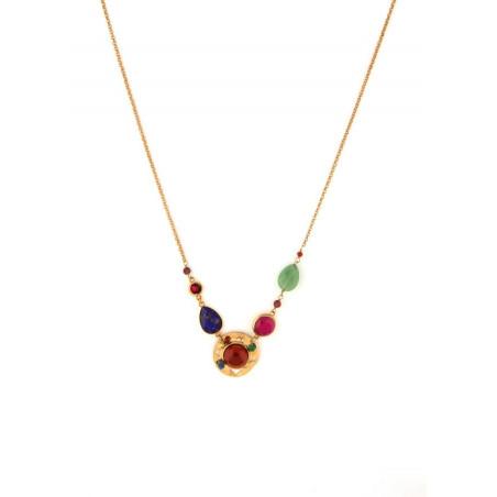 Fashionable garnet, and lapis lazuli mid-length necklace l multicoloured